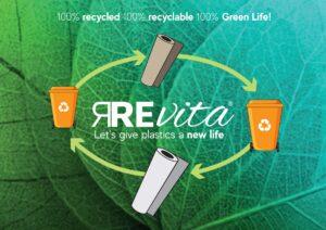 Revita materiale prodotto da economia circolare recupero da bottiglie di plastica